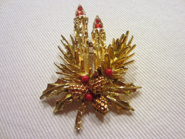 Christmas Candles Brooch Ruby Glass Signed Art - Designer Unique Finds   - 3