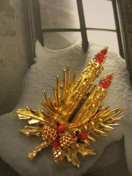 Christmas Candles Brooch Ruby Glass Signed Art - Designer Unique Finds   - 2