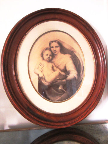 Antique Mahogany Oval Frame Madonna Child Portrait Raphael Dreseden Provenance - Designer Unique Finds