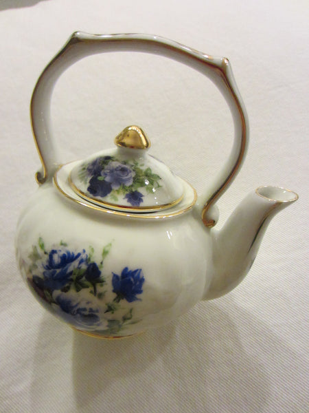 Fine Porcelain Fielder Keepsakes Blue Rose Teapot - Designer Unique Finds