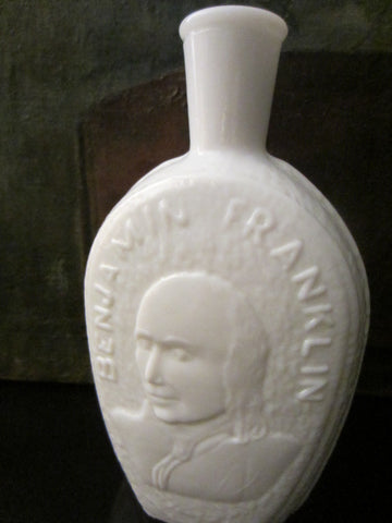 Benjamin Franklin Milk Glass Flask By Wheaton Millville NJ - Designer Unique Finds