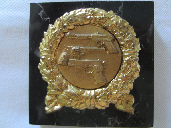 Italian Marble Paperweight Brass Decorated Wreath With Initial CLMD - Designer Unique Finds