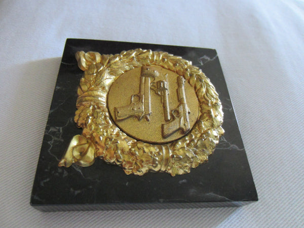 Italian Marble Brass Riffles Wreath Art Deco Signed Paperweight - Designer Unique Finds   - 8
