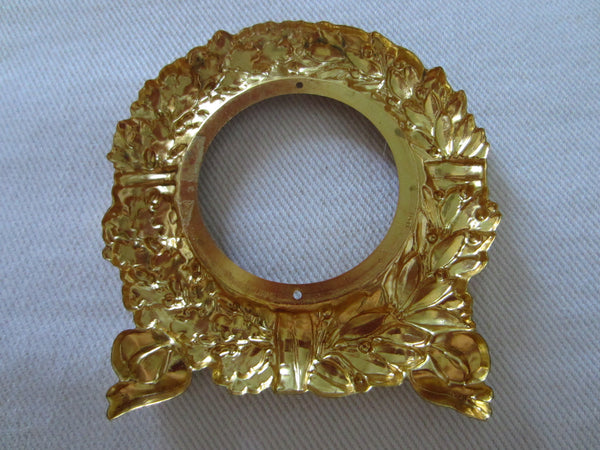 Italian Marble Brass Riffles Wreath Art Deco Signed Paperweight - Designer Unique Finds   - 5