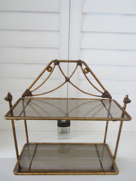 Regency Bronze Floor Wall Glass Shelf Tiered Footed Scrolled Tassel Finial - Designer Unique Finds   - 7