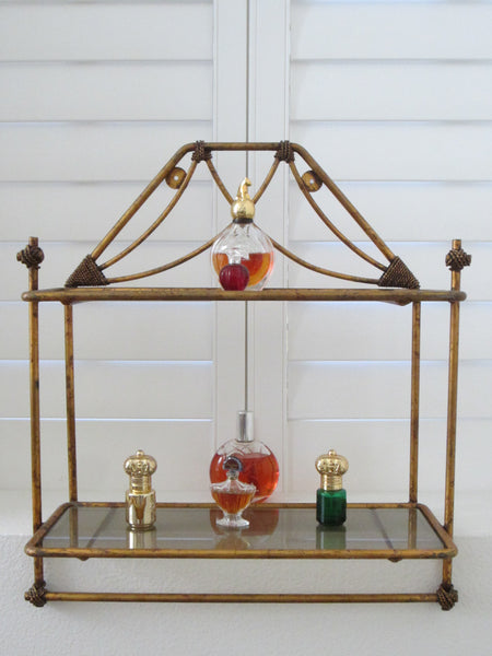 Regency Bronze Floor Wall Glass Shelf Tiered Footed Scrolled Tassel Finial - Designer Unique Finds   - 4