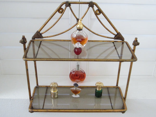 Regency Bronze Floor Wall Glass Shelf Tiered Footed Scrolled Tassel Finial - Designer Unique Finds   - 1