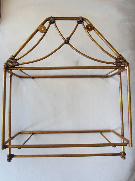 Bronze Tole Wall Display Vanity Shelf Scrolled Finial Smokey Glass Double Tiered - Designer Unique Finds
