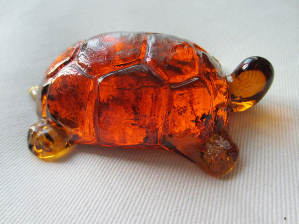 Pressed Glass Amber Turtle Paperweight - Designer Unique Finds   - 2
