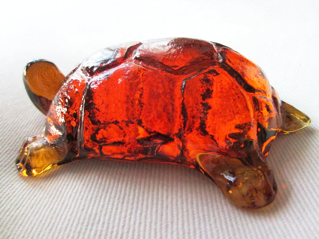 Pressed Glass Amber Turtle Paperweight - Designer Unique Finds   - 1