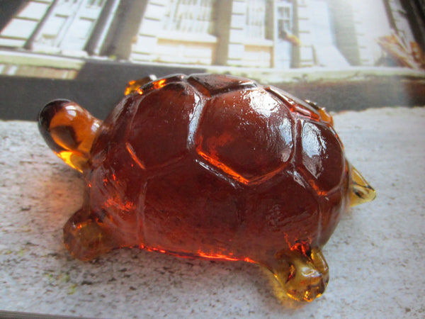 Pressed Glass Amber Turtle Paperweight - Designer Unique Finds   - 3