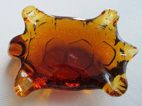 Pressed Glass Amber Turtle Paperweight - Designer Unique Finds   - 4
