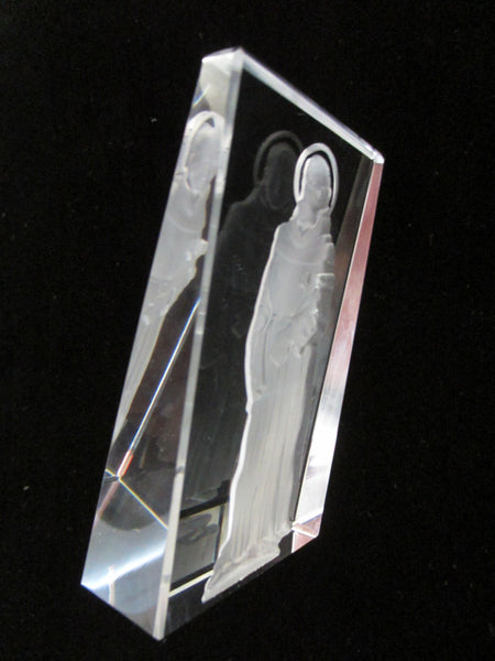 Religious Inspire Holy Man Crystal Icon Expressive Etched Figure - Designer Unique Finds   - 2
