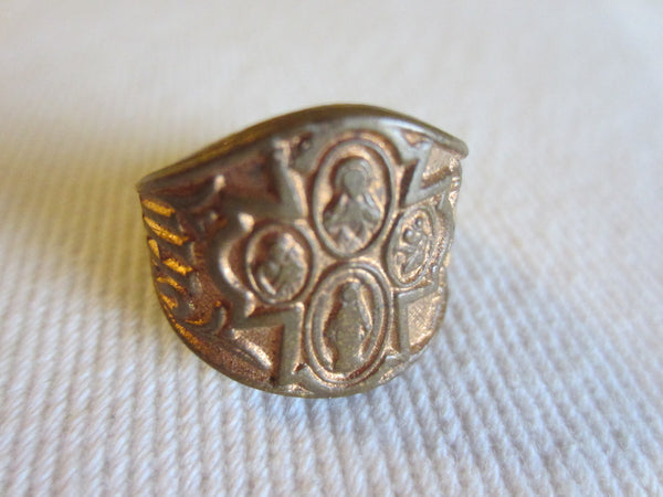 Masonic Adjustable Golden Metal Ring With Signature Symbols