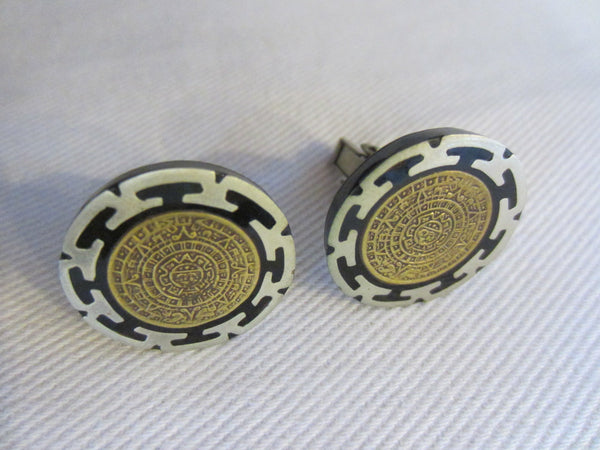 Minoan Phaistos Greek Revival Masonic Silver Cuff Links Hallmarked - Designer Unique Finds