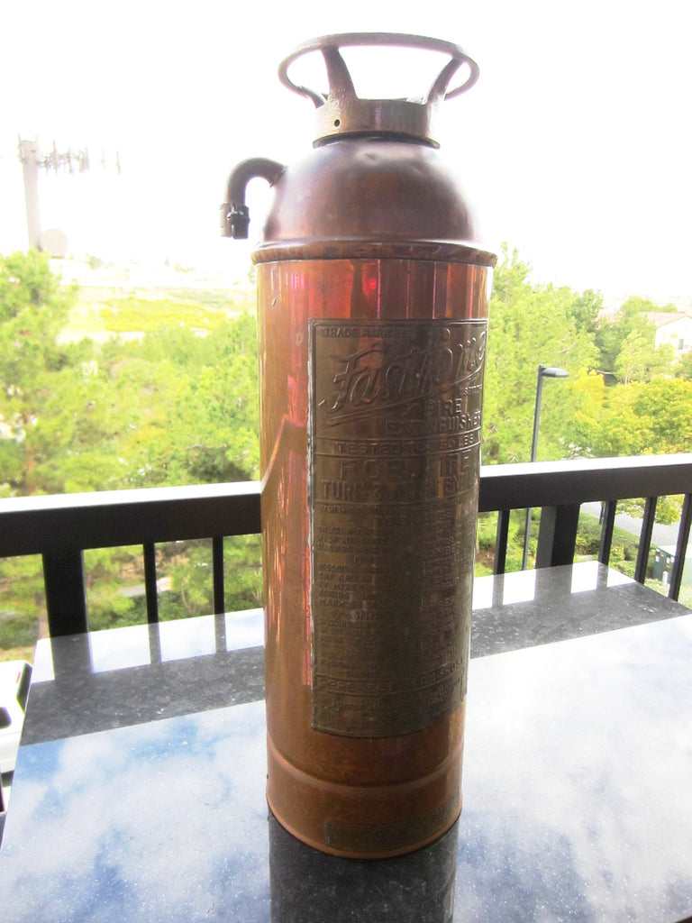 Fast Fome Juxtaposition Brass Coppertone Fire Extinguisher - Designer Unique Finds   - 1