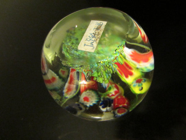 Blooming Colored Stem Millefiori Blown Glass Paperweight - Designer Unique Finds