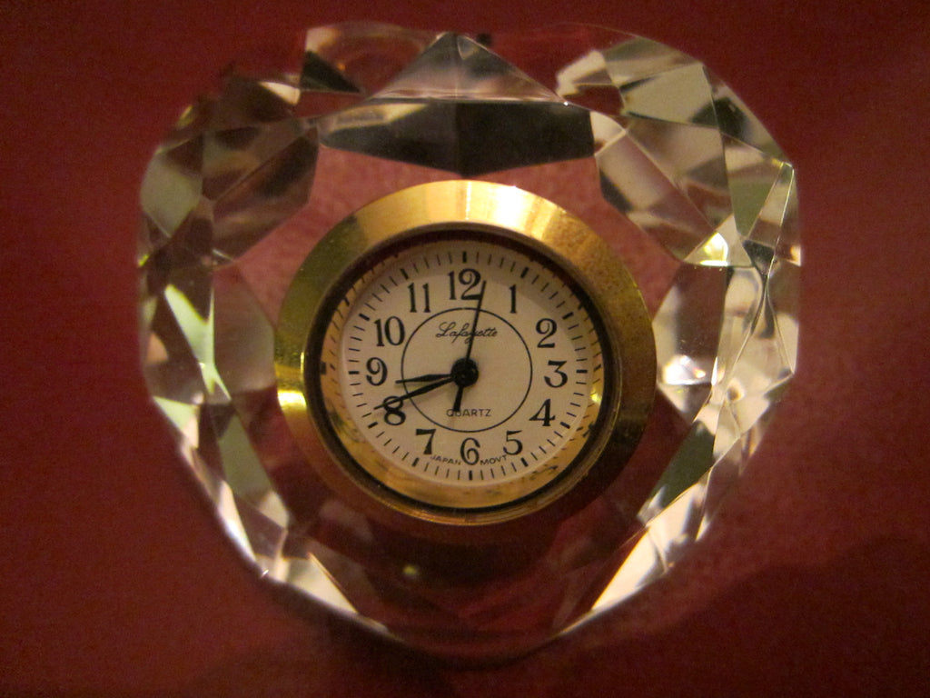 Lafayette Crystal Heart Miniature Desk Clock - Designer Unique Finds