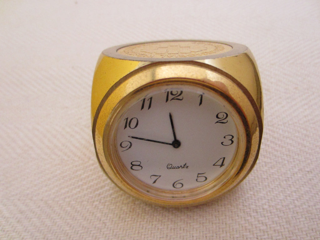 Brass Dice Miniature Novelty Desk Clock Long Beach Memorial Women Hospital - Designer Unique Finds   - 1
