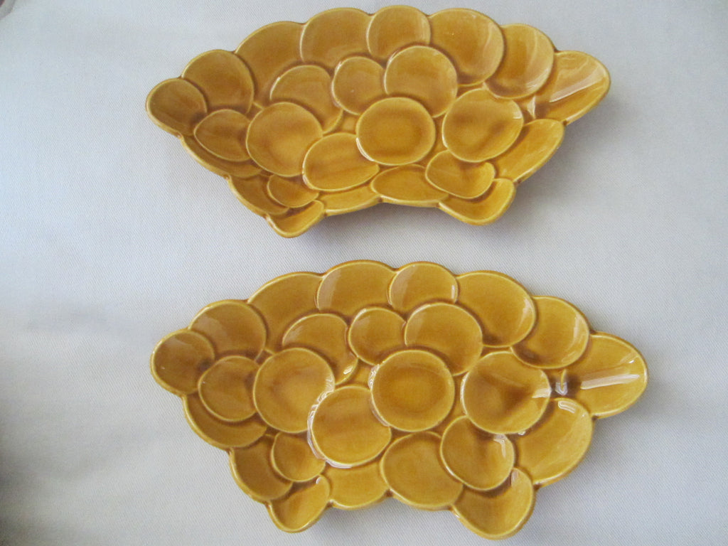 Art Deco American Ceramic Mustard Platters Circular Motion Marked USA 1A0 - Designer Unique Finds