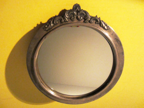 Silver Crest Bakelite Art Deco Mirror Decorated Floral Crown - Designer Unique Finds   - 2