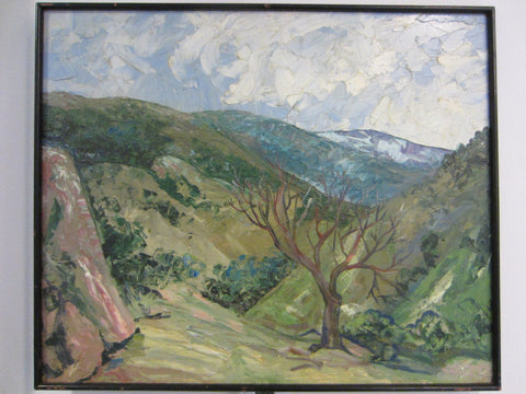 Carl Lewis Pappe Mod Landscape Oil On Panel - Designer Unique Finds
