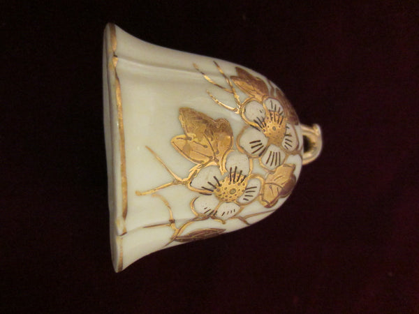 Meissen Style White Porcelain Bell Hand Decorated Gold Flowers