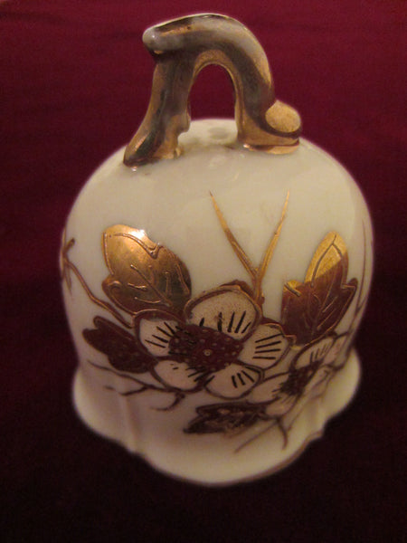 Meissen Style White Porcelain Bell Hand Decorated Gold Flowers - Designer Unique Finds