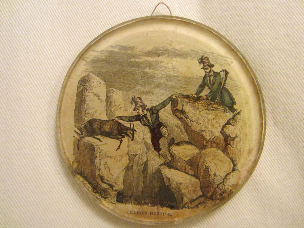 Chamois Hunting Scene Art Deco Reverse Glass Art - Designer Unique Finds   - 1