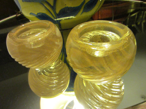 Murano Barrovier Tosso Glass Votive Candle Holders Archimedes Bowl Design Gold Inclusion - Designer Unique Finds