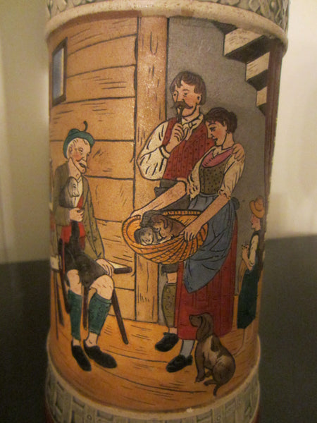 German Story Teller Ceramic Stein Hand Painted Inscribed - Designer Unique Finds   - 5