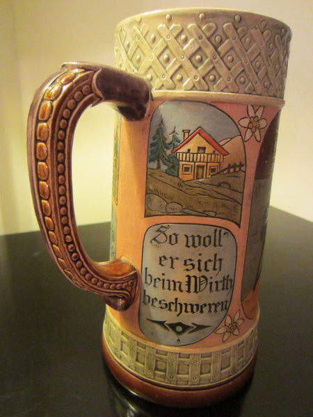 German Story Teller Ceramic Stein Hand Painted Inscribed - Designer Unique Finds   - 3