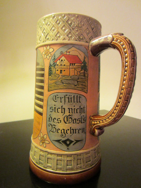 German Story Teller Ceramic Stein Hand Painted Inscribed - Designer Unique Finds   - 2