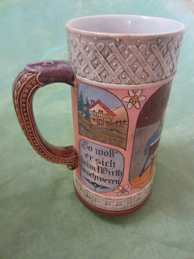 German Story Teller Ceramic Stein Hand Painted Inscribed - Designer Unique Finds   - 1