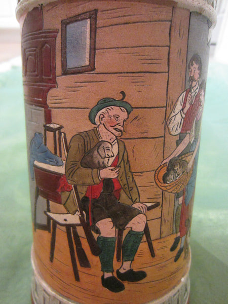 German Story Teller Ceramic Stein Hand Painted Inscribed - Designer Unique Finds   - 7