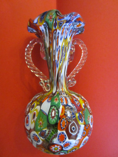 Venice Italian Millefiori Glass Trumpet Vase Clear Handles - Designer Unique Finds