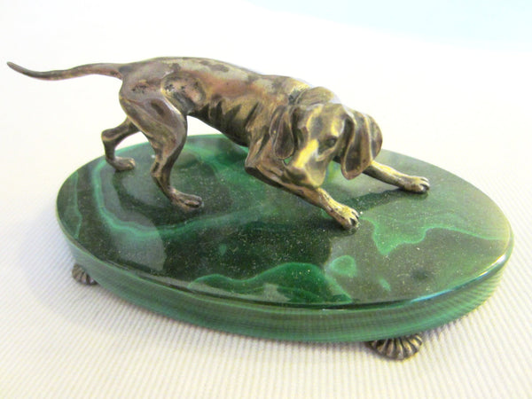 Sterling Silver Hound On Green Malachite - Designer Unique Finds