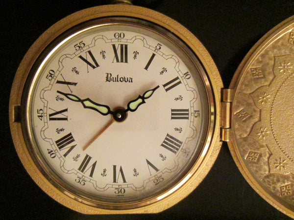 Bulova Japan Ormolu Pendant Clock Crested Medallion Cover - Designer Unique Finds   - 3