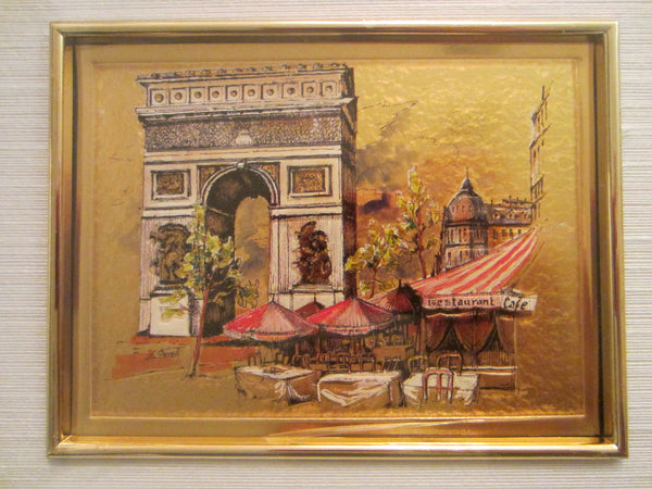 Paris City View G Borelli Chromolithograph Art Champs Elysee Outdoor Cafe - Designer Unique Finds