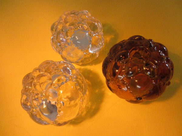 Art Deco Glass Candle Holders Set Open Salt Pepper - Designer Unique Finds