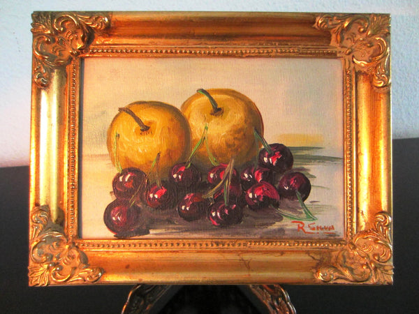 R Silva Still Life Apples And Cherries Signed Oil On Canvas Board - Designer Unique Finds