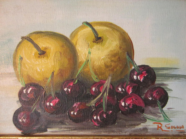 R Silva Still Life Apples Cherries Signed Oil On Canvas Board - Designer Unique Finds   - 2