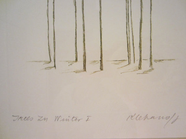Trees In Winter I Contemporary Drawing Signed Anita Klebanoff - Designer Unique Finds   - 3