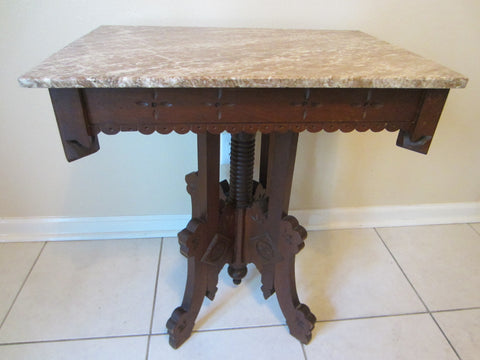 Antique Eastlake Parlor Table Marble Top Walnut Wood - Designer Unique Finds
