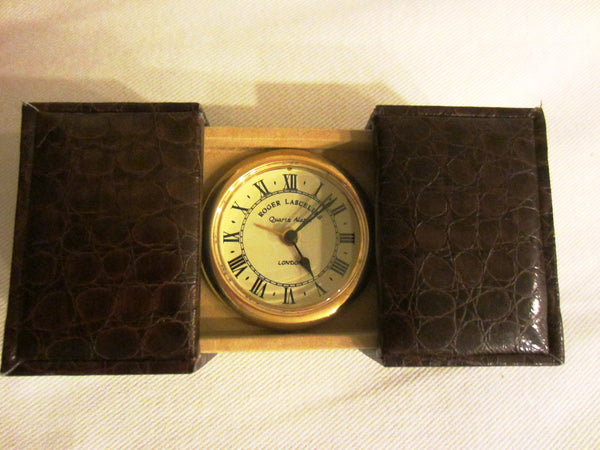 London Clic Cloc Roger Lascelles Crocodile Case Brass Travel Clock - Designer Unique Finds   - 3