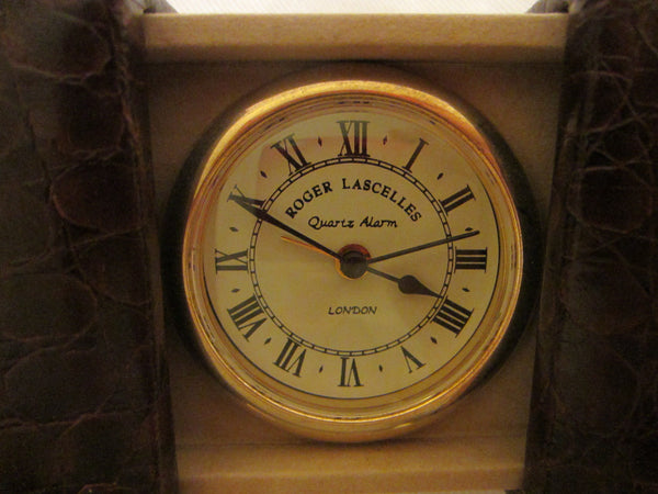 London Clic Cloc Roger Lascelles Crocodile Case Brass Travel Clock - Designer Unique Finds   - 2