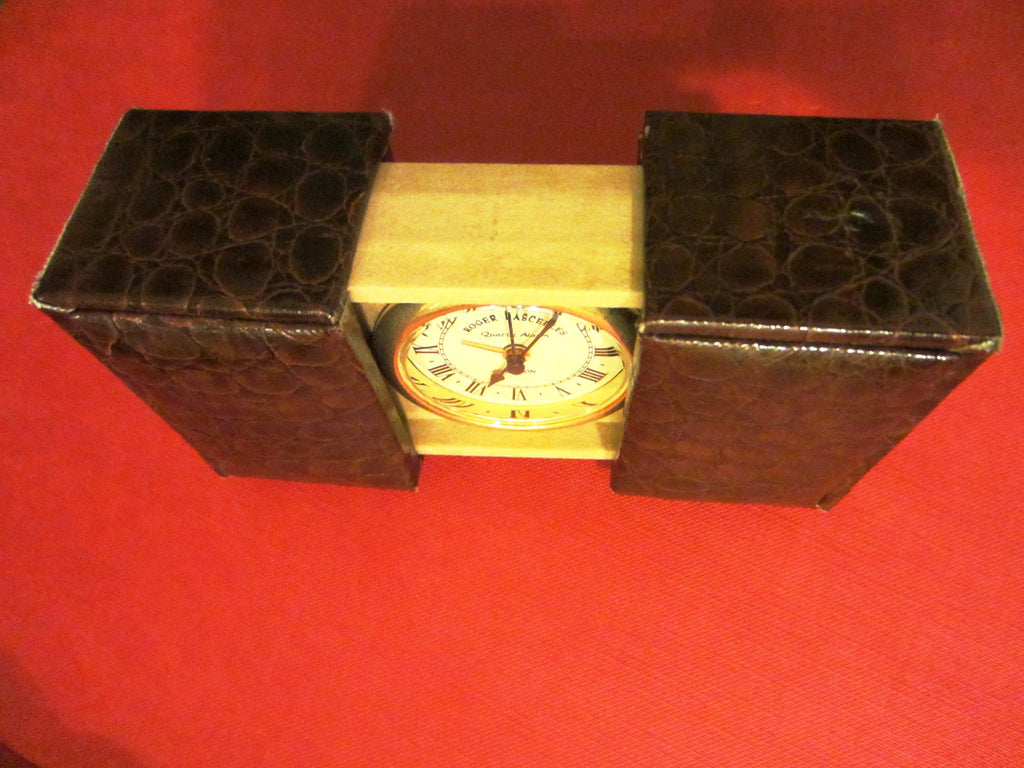 London Clic Cloc Roger Lascelles Crocodile Case Brass Travel Clock - Designer Unique Finds   - 1