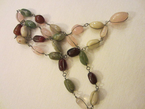 Wired Agates Pink Quartz Green Jades Carnelian Necklace - Designer Unique Finds   - 1