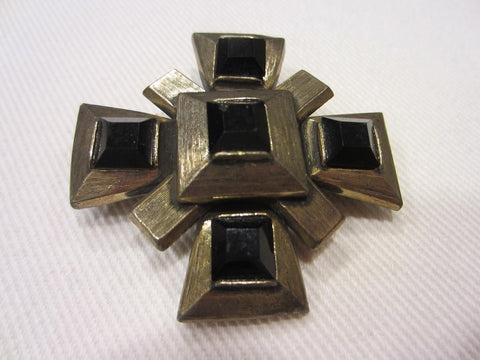 Carolee Maltese Brooch Red Glass Geometric Cabochons - Designer Unique Finds   - 3
