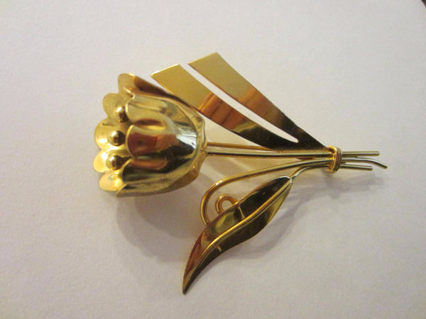 Sterling Craft Tulip Brooch Bouquet Gold Plated Signed In Etch - Designer Unique Finds   - 1